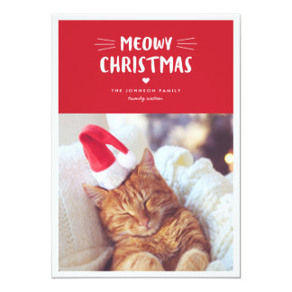 Carte photo mignon de vacances de chat de Noël |