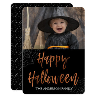 Carte photo moderne heureux de Halloween Halloween Carton D'invitation 12,7 Cm X 17,78 Cm