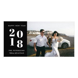 Carte photo moderne noir de mariage de bonne année