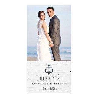 Carte photo nautique rustique de Merci de mariage Carte Avec Photo