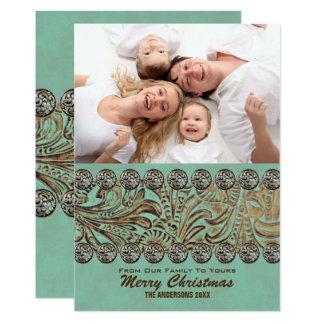 Carte Photo occidentale de Noël de pays en cuir