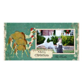 Carte photo rêveur de Noël de chameaux Photocarte Customisée