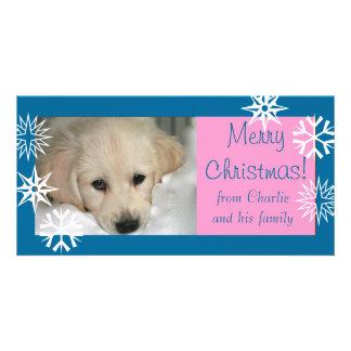 Carte photo rose bleu de Noël de chien de flocons Photocarte Customisée