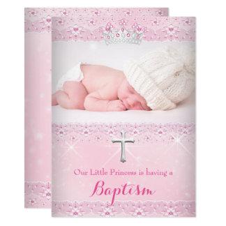 Carte Photo rose de bébé de baptême de diadème de fille