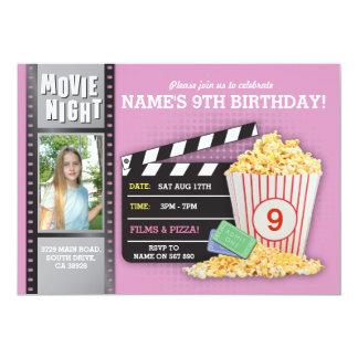 Carte Photo rose de fête d'anniversaire de cinéma de