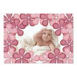 Carte photo rose de frontière de fleur carton d'invitation  12,7 cm x 17,78 cm