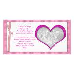 Carte photo rose de Merci de cadre de coeur de béb Photocartes Personnalisées