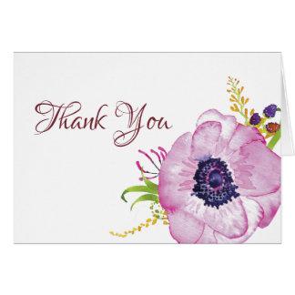 Carte photo rose de Merci de jardin de pavot