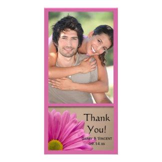 Carte photo rose de Merci de mariage de marguerite
