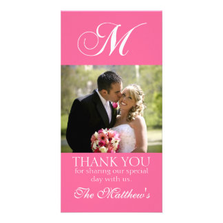 Carte photo rose de Merci de mariage du monogramme Cartes Avec Photo