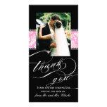 Carte photo rose noir de Merci de mariage damassé Modèle Pour Photocarte