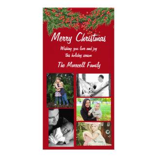 Carte photo rouge de famille de Noël de baie