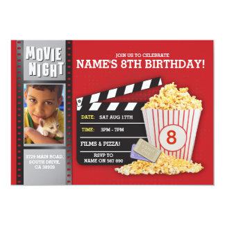 Carte Photo rouge de fête d'anniversaire de cinéma de