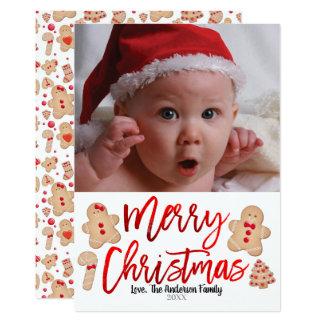 Carte Photo rouge de Joyeux Noël de biscuits de pain