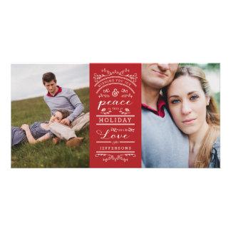 Carte photo rouge de Noël blanc de photo multi