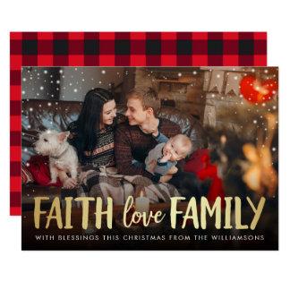 Carte Photo rouge de Noël de famille d'amour de foi de