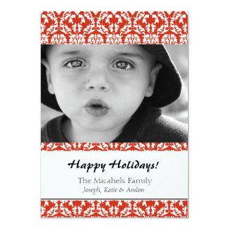 Carte photo rouge de vacances de damassé cartons d'invitation