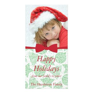 Carte photo rouge de vacances de Noël de ruban Photocarte