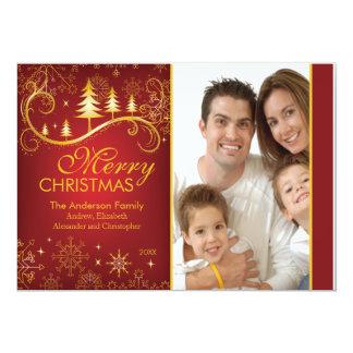 Carte photo rouge élégant de vacances d'arbre de carton d'invitation  12,7 cm x 17,78 cm