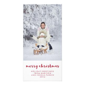 Carte Photo rouge et blanche simple du Joyeux Noël |