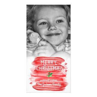 Carte Photo rouge Painterly de houx de Noël d'aquarelle
