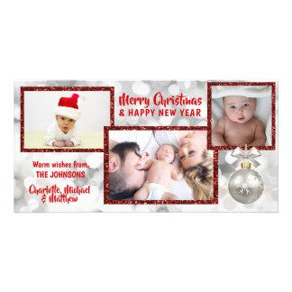 Carte PHOTO rouge personnalisée des vacances | de Noël