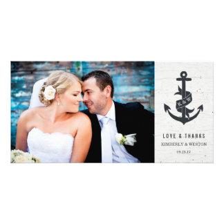Carte photo rustique de Merci de mariage d'ancre Photocarte Customisée