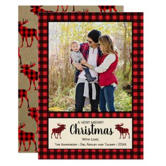Carte photo rustique de Noël de plaid et