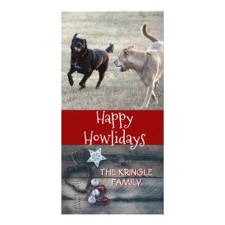 Carte Photo rustique heureuse de Noël de chien de