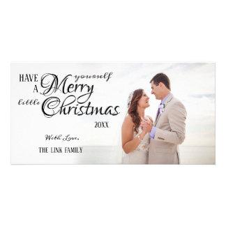 Carte photo simple de Joyeux Noël de calligraphie