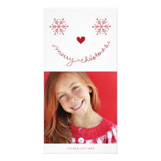 Carte photo souriant mignon de vacances de Joyeux Photocarte
