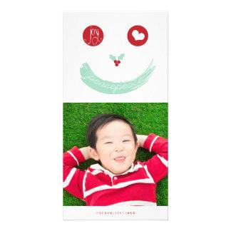 Carte photo souriant mignon de vacances de visage modèle pour photocarte