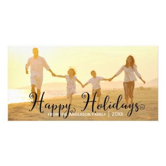 Carte photo tourbillonnant de noir bonnes fêtes - cartes de vœux avec photo
