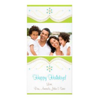 Carte photo vert et bleu de vacances modèle pour photocarte