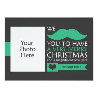 Carte Photo verte de Noël de moustache