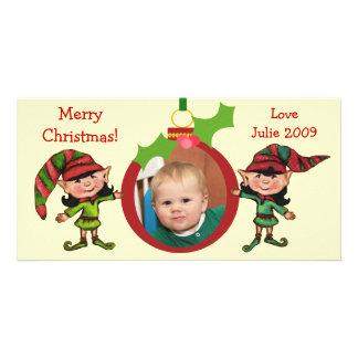 Carte photo vintage d elfes de Noël Photocartes Personnalisées