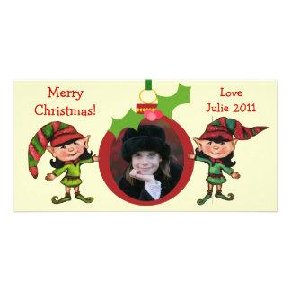 Carte photo vintage d'elfes de Noël Photocarte