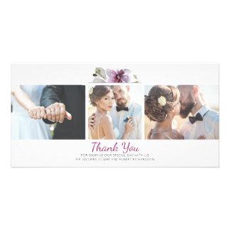 Carte Photos florales de l'aquarelle 3 de prune épousant