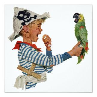 Carte Pirate vintage, garçon avec l'invitation d'oiseau