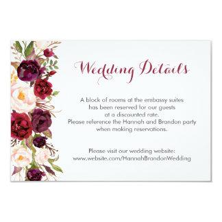 Carte Pivoines florales de Boho Marsala épousant la