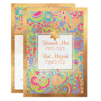 Carte PixDezines Boho floral+Bat mitzvah de papillons
