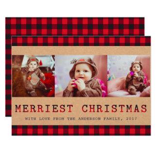 Carte Plaid rustique | de Buffalo salutation de Noël de