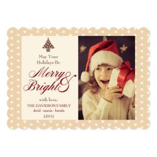 Carte plate chaude de Joyeux et lumineux Noël de Carton D'invitation 12,7 Cm X 17,78 Cm