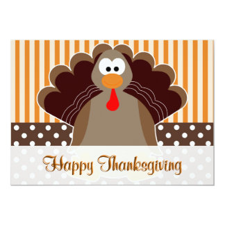 Carte plate de bon thanksgiving mignon de la carton d'invitation  12,7 cm x 17,78 cm