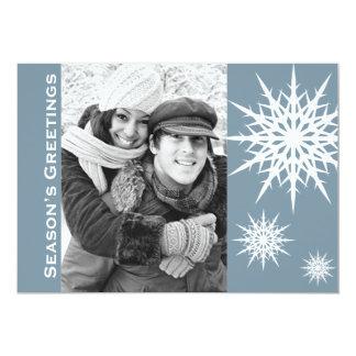Carte plate de Bonnes Fêtes de vacances bleues de Carton D'invitation 12,7 Cm X 17,78 Cm
