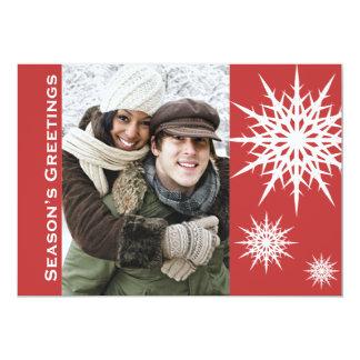 Carte plate de Bonnes Fêtes de vacances rouges de Carton D'invitation 12,7 Cm X 17,78 Cm