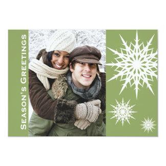 Carte plate de Bonnes Fêtes de vacances vertes de Carton D'invitation 12,7 Cm X 17,78 Cm