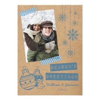 Carte plate de carton de sucrerie de vacances bleu faire-part personnalisables