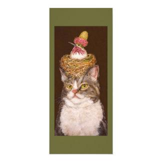 Carte plate de chat végétalien carton d'invitation  10,16 cm x 23,49 cm