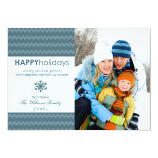 Carte plate de Chevron de vacances bleues de Cartons D'invitation Personnalisés